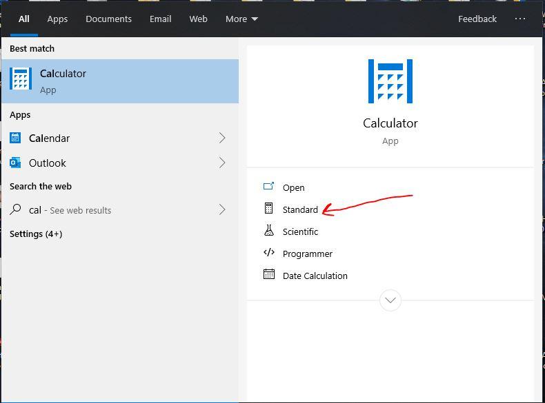 Pokrenite standardni program Kalkulator Windows 10