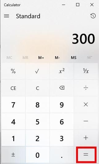 Na kraju pritisnite izračunat je postotak postotka