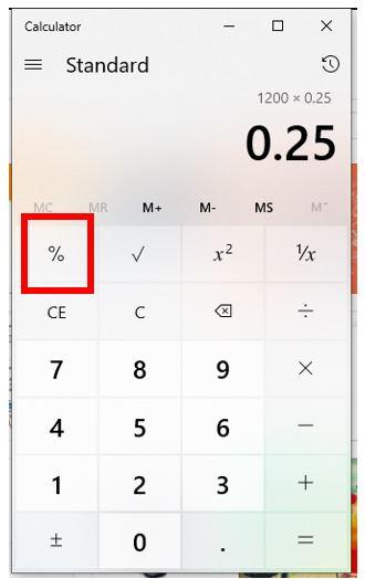 Pritisnite ili kliknite na postotak tipku da biste ga izračunali