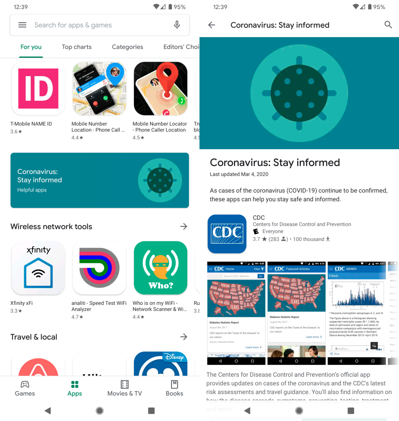 Koronavirus stiže u Play Store: novi odjeljak aplikacije