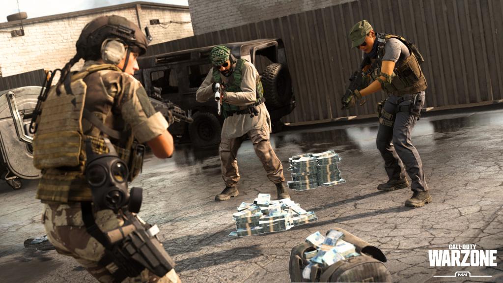 Warzone, Pljačkanje novca za prikupljanje novca, s vrećama novca i gomilama na podu, gdje su tri igrača u sukobu