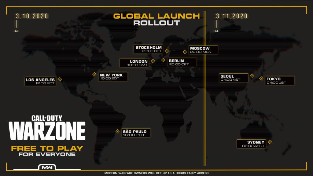 CoD Warzone, karta svijeta s vremenima pokretanja igre