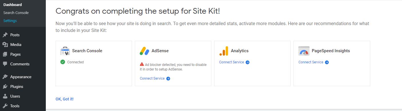 Dodavanje više usluga korištenjem Site Kit-a.